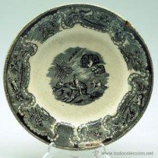 Antigüedades: PLATO LOZA ESTAMPADA CARTAGENA MOTIVO CAZA S XIX FÁBRICA LA AMISTAD. Lote 36884635