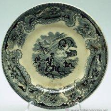 Antigüedades: PLATO LOZA ESTAMPADA CARTAGENA MOTIVO CAZA S XIX FÁBRICA LA AMISTAD. Lote 36884660