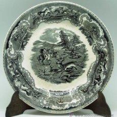 Antigüedades: PLATO LOZA ESTAMPADA CARTAGENA MOTIVO CAZA CIERVO S XIX FÁBRICA LA AMISTAD. Lote 36885057