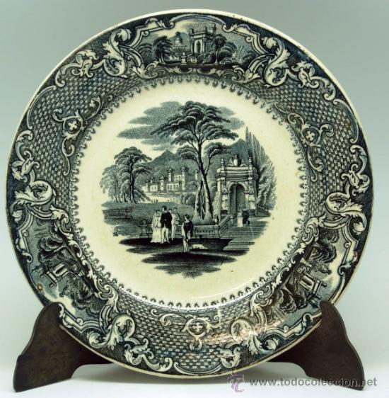 PLATO LLANO NEGRO LOZA SAN JUAN DE AZNALFARACHE SERIE VISTAS DORIA JARDÍN ROMÁNTICO S XIX (Antigüedades - Porcelanas y Cerámicas - San Juan de Aznalfarache)