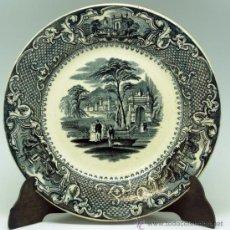 Antigüedades: PLATO LLANO NEGRO LOZA SAN JUAN DE AZNALFARACHE SERIE VISTAS DORIA JARDÍN ROMÁNTICO S XIX. Lote 36885929