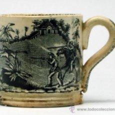 Antigüedades: POCILLO TAZA LOZA CARTAGENA MOTIVO CAZA S XIX. Lote 36886845