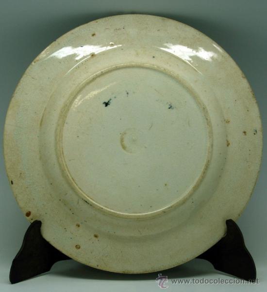 Antigüedades: Plato llano negro loza San Juan de Aznalfarache serie vistas Doria jardín romántico S XIX - Foto 5 - 36885929
