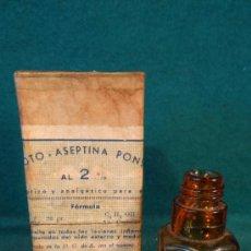 Antigüedades: OTO ASEPTINA PONS - LERIDA - CAJA Y FRASCO CRISTAL - VACIO - ANTIGUO - FARMACIA. Lote 36916317
