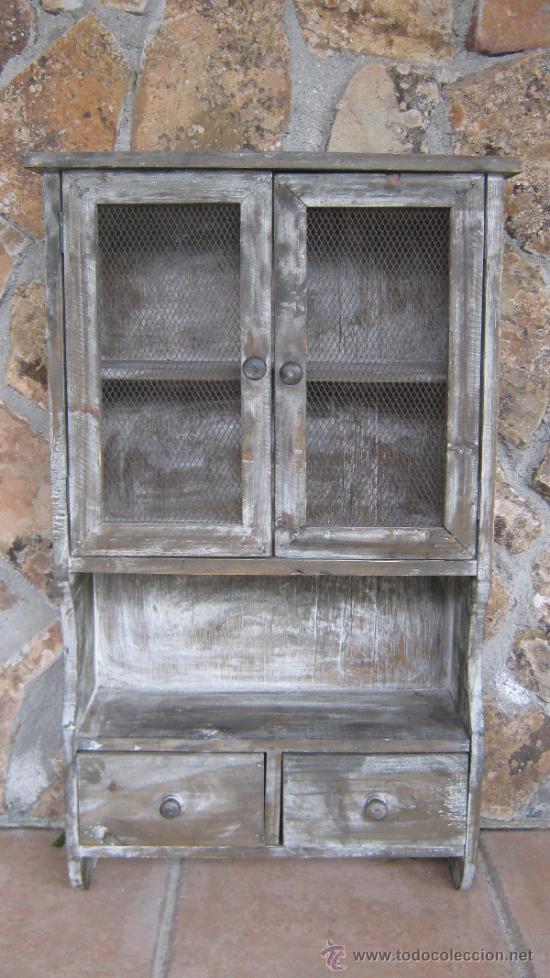 Peque a alacena perchero de colgar de madera la comprar - Cajones de madera antiguos ...