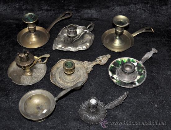 LOTE DE 8 PALMATORIAS ANTIGUAS, ALGUNAS DE MUY BONITAS. (Antigüedades - Iluminación - Otros)