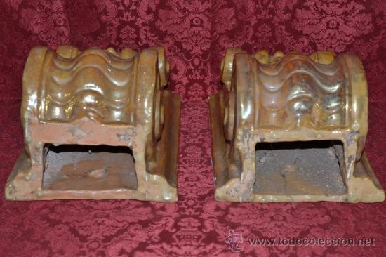 Antigüedades: MAGNIFICA PAREJA DE CANES REFLEJOS DORADOS EN CERAMICA DE TRIANA,(SEVILLA) - Foto 11 - 36945318