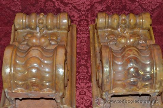 Antigüedades: MAGNIFICA PAREJA DE CANES REFLEJOS DORADOS EN CERAMICA DE TRIANA,(SEVILLA) - Foto 12 - 36945318