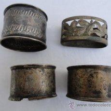 Antigüedades: LOTE DE 4 POSASERVILLETAS, PROBABLEMENTE PLATA.. Lote 36988799