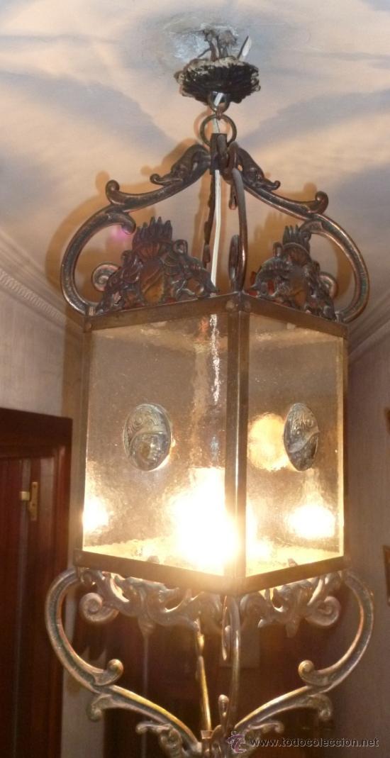 FAROL DE BRONCE Y CRISTAL (Antigüedades - Iluminación - Faroles Antiguos)