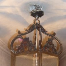 Antigüedades - FAROL DE BRONCE Y CRISTAL - 36990418