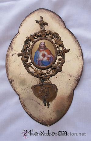 BENDITERA ANTGUA ESMALTE PINTURA PORCELANA 1902 (Antigüedades - Religiosas - Benditeras)