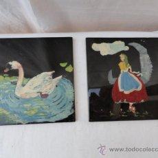 Antigüedades: LOTE DE 2 AZULEJOS PINTADOS A MANO.. Lote 37007310