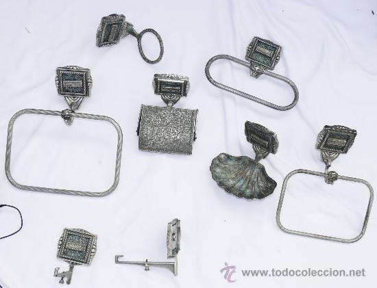 Set de ba o antiguo 10 piezas apliques lampa comprar for Perchero electrico para bano