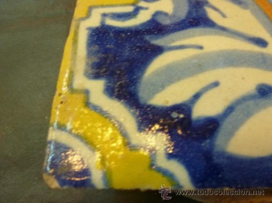 Antigüedades: azulejo de manises azul - Foto 9 - 37000007