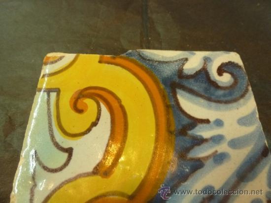 Antigüedades: azulejo de manises azul - Foto 8 - 36999983