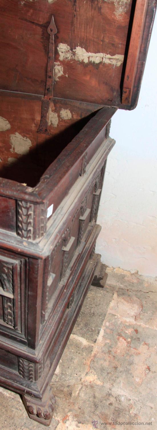 Antigüedades: Arca catalana s.XVIII, de nogal. Tapa interior lisa, . - Foto 4 - 36997877