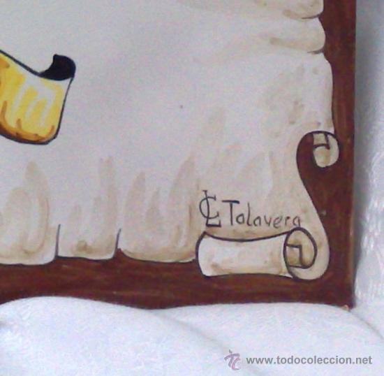 Antigüedades: PLAFÓN DE AZULEJOS EN CERÁMICA TALAVERANA CON ESCUDO NOBILIARIO, FIRMADO. - Foto 9 - 37041202