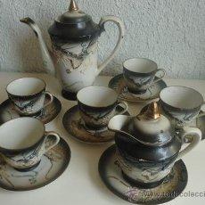Antigüedades: JUEGO DE CAFÉ TE JAPONES ORIENTAL JAPÓN DRAGONES GHEISA TAZAS AZUCARERO JARRA Y TETERA. Lote 37050466