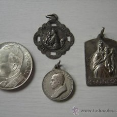 Antigüedades: MEDALLAS PLATA DE LEY. 4 UNIDADES. NTRA. SRA. DEL CARMEN, SAN JUAN, PIO XII, JUAN PABLO II. Lote 37052139