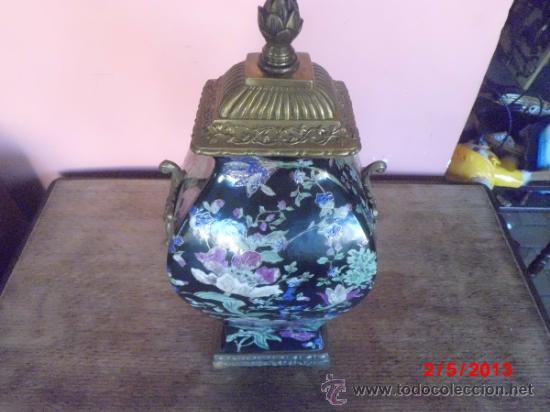 Antigüedades: PRECIOSO JUEGO DE JARRONES EN PORCELANA CUARTEADA Y BRONCE - Foto 5 - 37054574