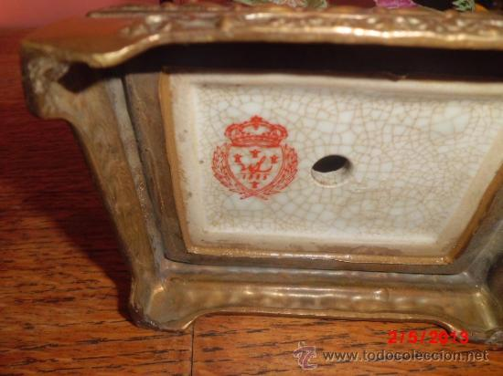 Antigüedades: PRECIOSO JUEGO DE JARRONES EN PORCELANA CUARTEADA Y BRONCE - Foto 2 - 37054574