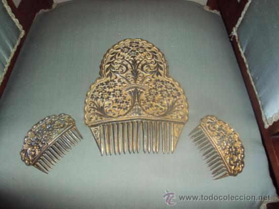 ANTIGO JUEGO DE PEINETAS PRECIOSAS (Antigüedades - Moda - Peinetas Antiguas)