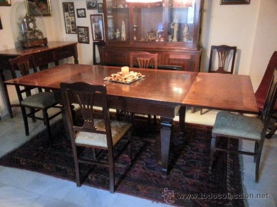 Mesa de comedor de caoba antigua con sillas s comprar for Sillas comedor antiguas