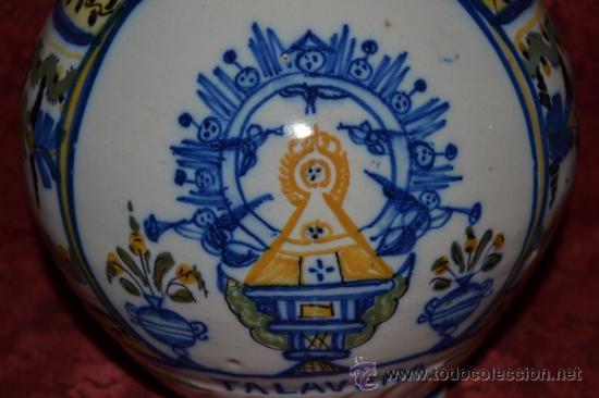 Antigüedades: PRECIOSA JARRA DE TALAVERA,VIRGEN DEL PRADO,S. XIX - Foto 5 - 37120357