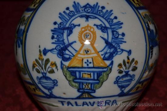 Antigüedades: PRECIOSA JARRA DE TALAVERA,VIRGEN DEL PRADO,S. XIX - Foto 6 - 37120357