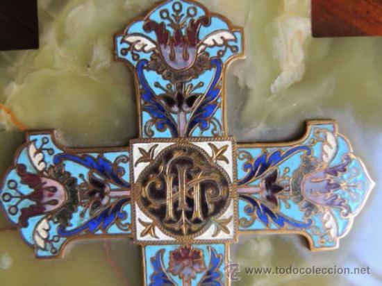 Antigüedades: BENDITERA DE ONIX CON ESMALTE CLOISONNE - Foto 5 - 37113850