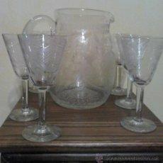 Antigüedades: JARRA AGUA CRISTAL TALLADO. Lote 37116658