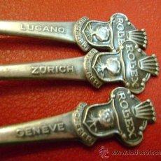 Antigüedades: 3 CUCHARAS O CUCHARILLAS DE PLATA ROLEX BUCHERER SUIZA EN RELIEVE: GENÈVE (GINEBRA), LUGANO, ZURICH. Lote 37119516