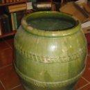 Antigüedades: EXTRAORDINARIA TINAJA VALENCIANA COMPLETAMENTE VIDRIADA. Lote 37124904