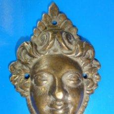 Antigüedades: CARA DE BRONCE XVIII APLIQUE. Lote 37130473