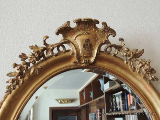Antigüedades: PRECIOSO ESPEJO OVALADO FRANCES S.XIX - Foto 2 - 37124149