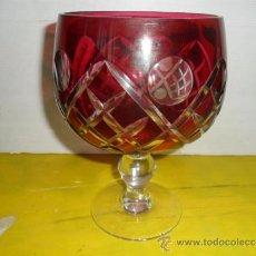 Antigüedades: COPON GRANDE DE CRISTAL TALLADO GRANATE. Lote 37178780