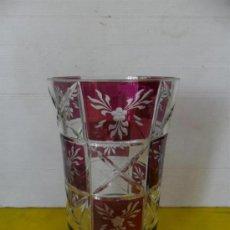 Antiguidades: JARRON DE CRISTAL TALLADO GRANATE. Lote 172840649