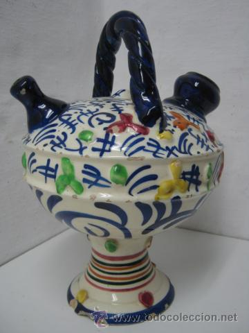 ANTIGUO BOTIJO MANISES VALENCIA 30 CM - CERAMICA ESMALTADA C.1900 (Antigüedades - Porcelanas y Cerámicas - Manises)