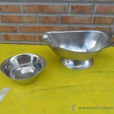Antigüedades: SALSERA Y CUENCO DE ACERO. Lote 37201890