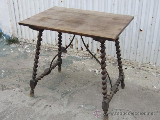 Mesa en madera y forja con patas salomonicas comprar mesas antiguas en todocoleccion 37208685 - Patas de forja para mesas ...