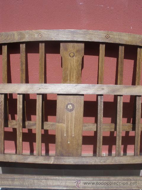 Antigüedades: CAMA MODERNISTA CON FLORECITAS. RESTAURADA. - Foto 3 - 37236981