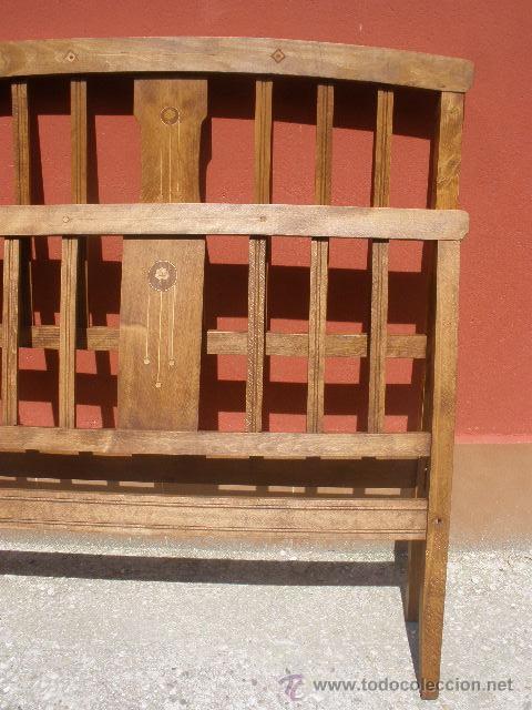 Antigüedades: CAMA MODERNISTA CON FLORECITAS. RESTAURADA. - Foto 4 - 37236981