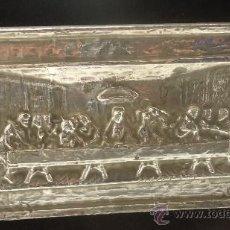 Antigüedades: LA ULTIMA CENA EN METAL REPUJADO CUADRO MARCO CON TERCIOPELO NEGRO. Lote 37240021