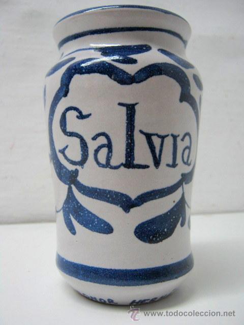 ALBARELO BOTE DE FARMACIA SALVIA - FARMACIA LEONOR HERNANDEZ (Antigüedades - Porcelanas y Cerámicas - Otras)