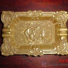 Antigüedades: CENICERO DE BRONCE TODO TRABAJADO CON DIFERENTES DIBUJOS . Lote 155102577