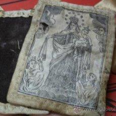 Antigüedades: ANTIGUO ESCAPULARIO PROCESIONAL CON IMAGEN DE LA VIRGEN DEL CARMEN SOBRE TELA - ORIGINAL SIGLO XIX. Lote 37322915