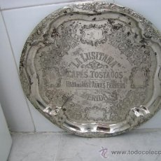 Antigüedades: BANDEJA PUBLICITARIA DE CAFES TOSTADOS LA LUSITANA. HIJAS DE JOSE ALVES FERRERA. MERIDA. Lote 37395383