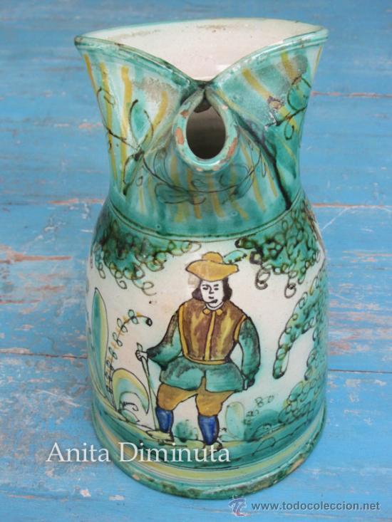 Antigüedades: ANTIGUA Y PRECIOSA JARRA ORIGINAL DE CERAMICA ESMALTADA DE PUENTE DEL ARZOBISPO - MARCADA EN LA BASE - Foto 5 - 37302061