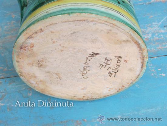 Antigüedades: ANTIGUA Y PRECIOSA JARRA ORIGINAL DE CERAMICA ESMALTADA DE PUENTE DEL ARZOBISPO - MARCADA EN LA BASE - Foto 6 - 37302061